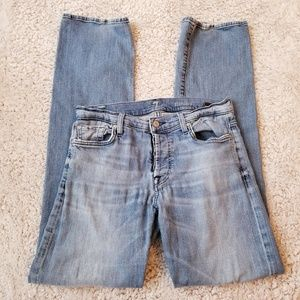 7 For All Mankind Standard Button Fly Distressed